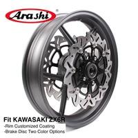 Arashi ZX6R 2005 2012 Front Wheel Rim For KAWASAKI NINJA ZX 6R ZX 6R 636 05 06 07 08 09 10 11 12 Front Brake Disc Rotors 1 Set