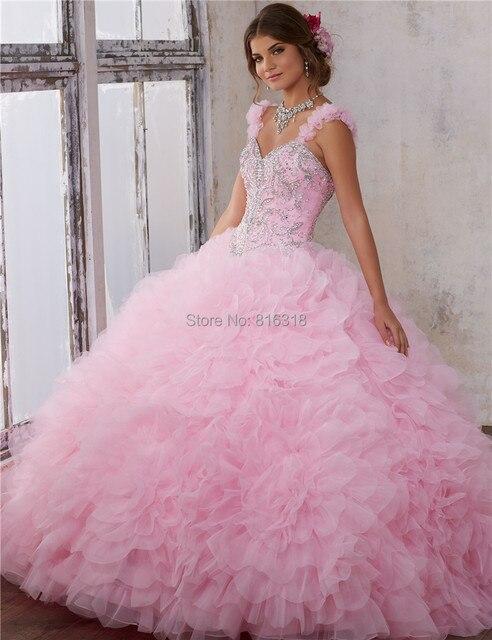 c38dc2d10 Luz de Color Rosa Vestidos de Quinceañera 2017 Dulce 16 Vestidos Barato  Debutante Aqu En Línea