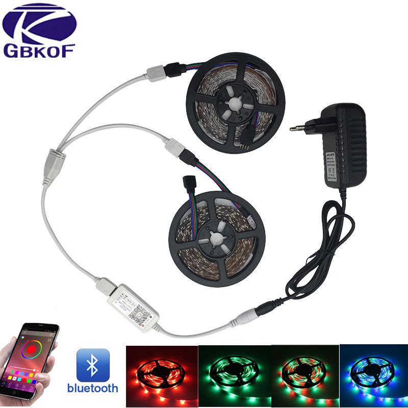 SMD2835 3528 Bluetooth WiFi DC12V led strip light waterproof 5M 10M RGB Tape diode neon light flexible ribbon full stripe kit 10m 5m 3528 5050 rgb led strip light non waterproof led light 10m flexible rgb diode led tape set remote control power adapter