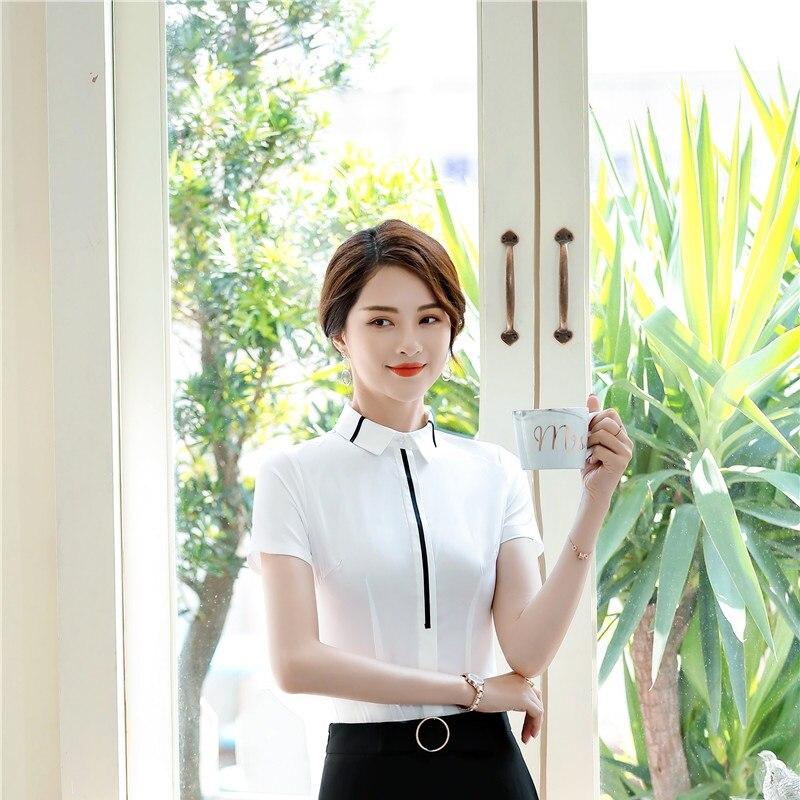 163ba525785 Летние Элегантные белые Деловые женские форменные стильные блузки и рубашки  с коротким рукавом Женская рабочая одежда Блузка женские топы .