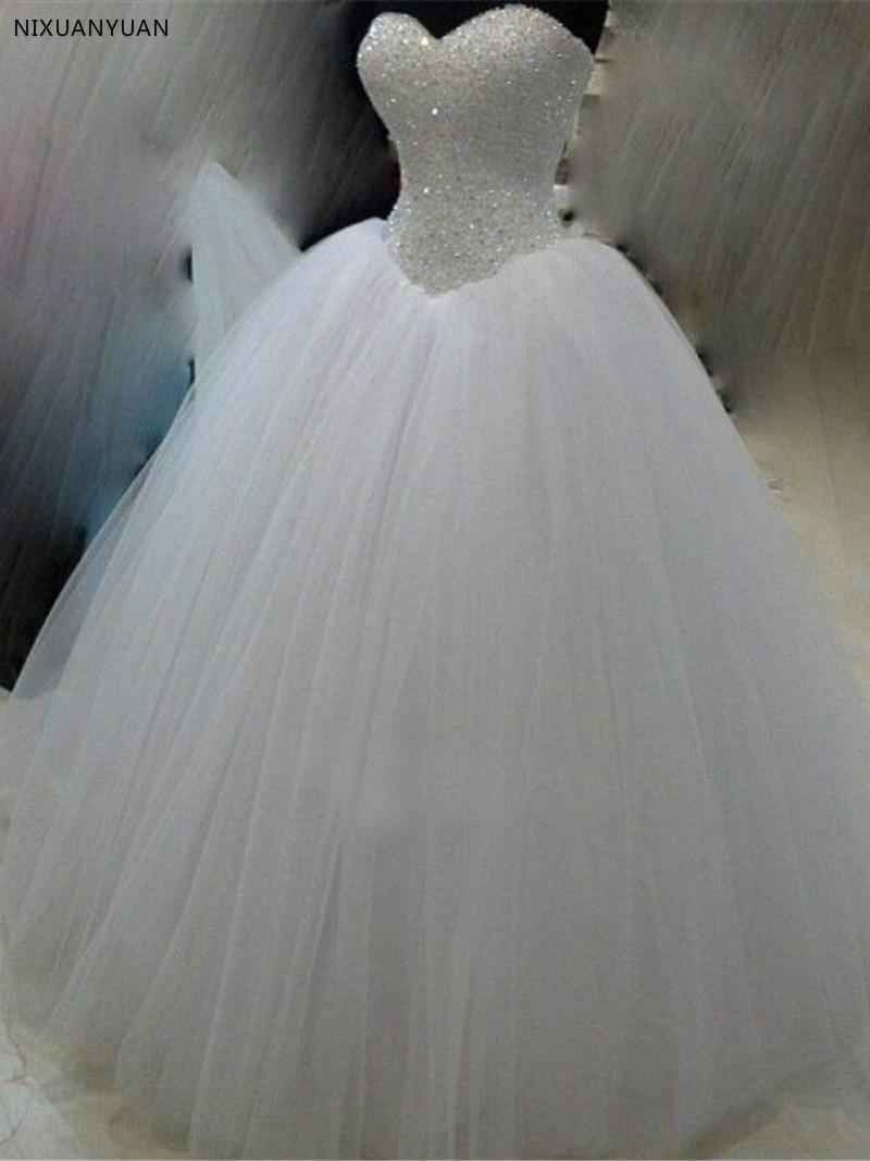 Real Photos Princess White Ivory Tulle Ball Gown Wedding Dress 2020 Beaded Sweetheart Bridal Gown Vestido De Noiva