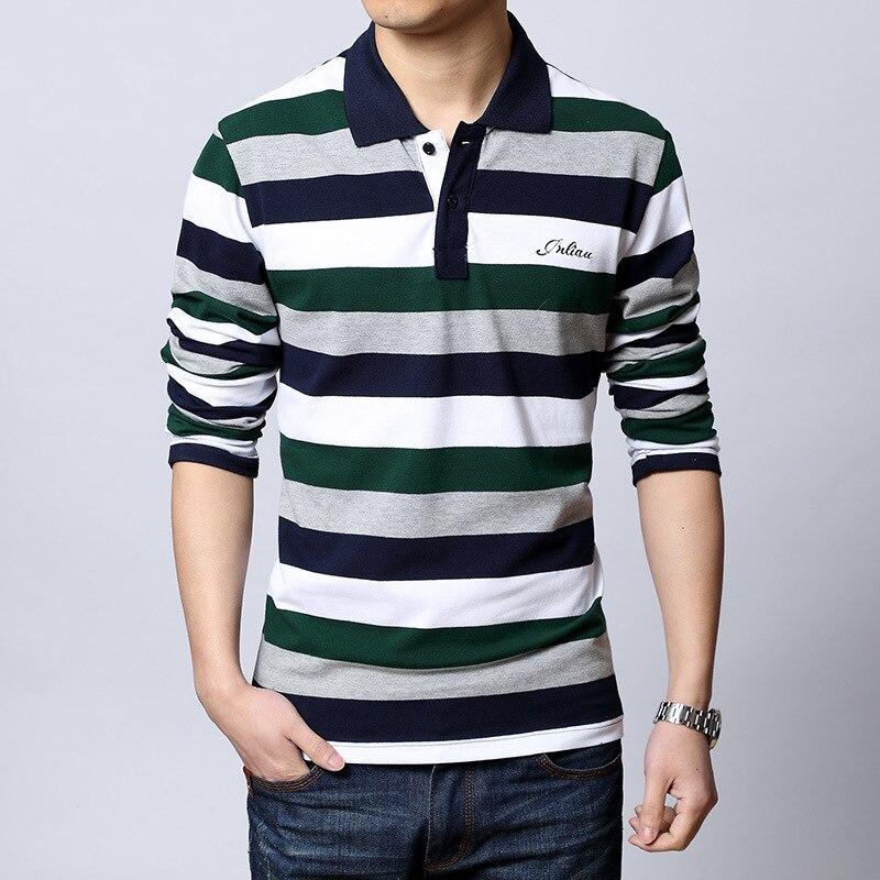 Men  European Style Striped Polo Shirt 95% Cotton Long Sleeve New 2016 Spring Brand Clothing Big Size M-5XL