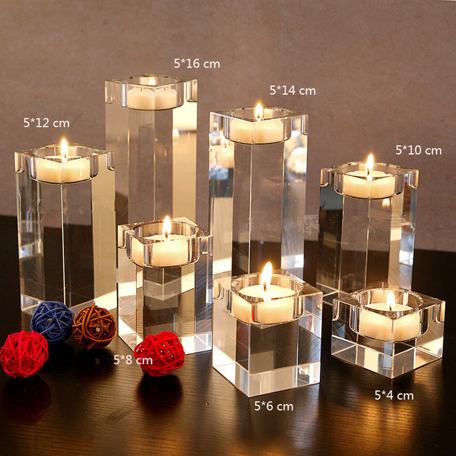 3pcs Set Dining Table Solid Crystal Candlestick Transpa Candle Holder Christmas Wedding Candlelight Ornaments