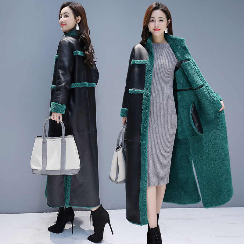Sheep Shearling Faux fur Coats 2019 X- Long Warm Women's Fur Coat Female Plus size Winter Jacket Women Real Wool Overcoat 16-231