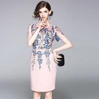 Brand New 2017 Fashion Women Summer Designer Short Sleeve Floral Embroidery Dress Elegant Lady Knee Length