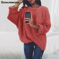 Madam clothing OWLPRINCESS New Knitted Sweater Women Loose Long Sleeve O Neck Warm and comfortable pullover Crop Sweater Femme