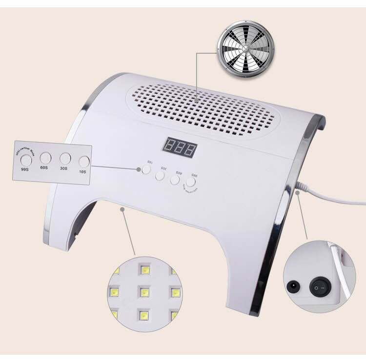 Two-in-one Intelligent Nail Dust-absorbing Phototherapy Machine 36 Beads, Double Powerful Fan 80W Dust-removing Phototherapy Mac