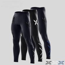 Компрессионные брюки мужские осенние и зимние облегающие штаны для бега спортивные штаны на резинке марафон Быстросохнущий