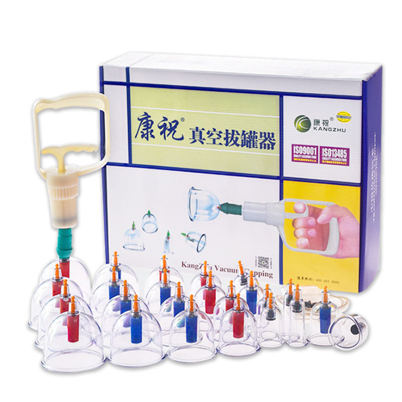 Ancient Chinese Cupping: 24 Pieces Kangzhu Massage Vacuum Cupping Set Suction Cups