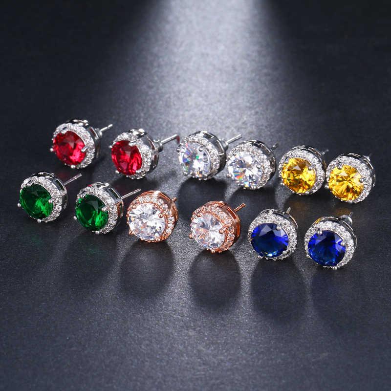 Классические круглые геометрические серьги Bettyue с фианитами класса ААА, разноцветные женские серьги на выбор, простые Стильные Модные массивные элегантные серьги
