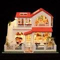 Розовый вилла DIY кукольный дом крупномасштабное 3D миниатюрный свет + дерево ручной работы модели здания домой и магазин украшения игрушки коллекция