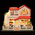 Pink villa DIY Doll house Large scale 3D Miniature Light+Wood Handmade kits model Building Home&Store decoration Toy Collection