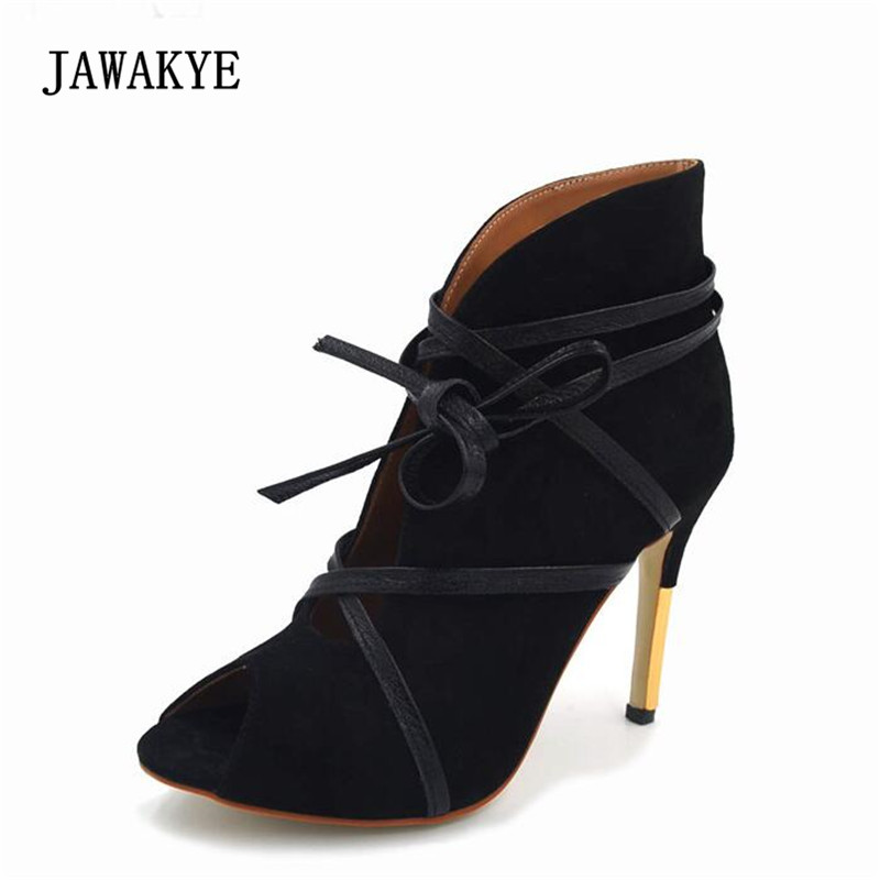 JAWAKYE Sexy Gladiator Sandals Woman Open Toe Ankle Strap Bandage Suede High Heel Boots Women Fashion Ankle Boots Spring 2018