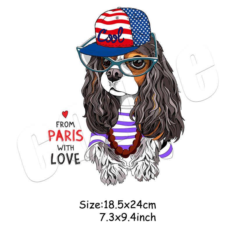 สุนัขสร้างสรรค์ Pacthes สำหรับสาวหมวกแว่นตาสติกเกอร์สัตว์การออกแบบที่กำหนดเองอุปกรณ์เสริม Parches Heat Transfer Applique