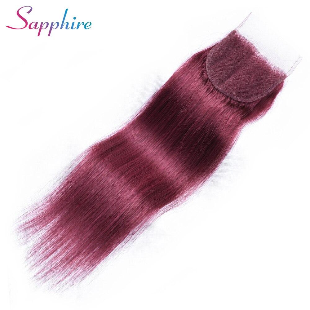 Sapphire Hair 4 x 4 Brazilian Closure Straight Human Hair Free/Middle/Three Part Lace Closure 8-20 Dark Red Free Shipping