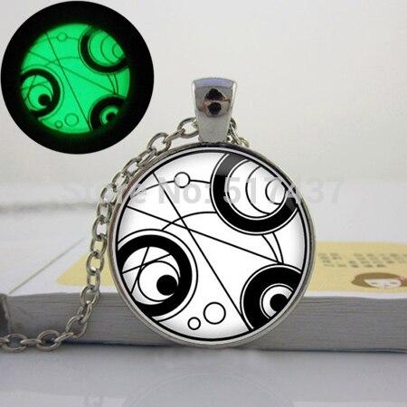 Glowing Necklace Pendant Gallifreyan Pendant Necklace, Doctor Who Necklace, Doctor Who Charm art photo glowing jewelry