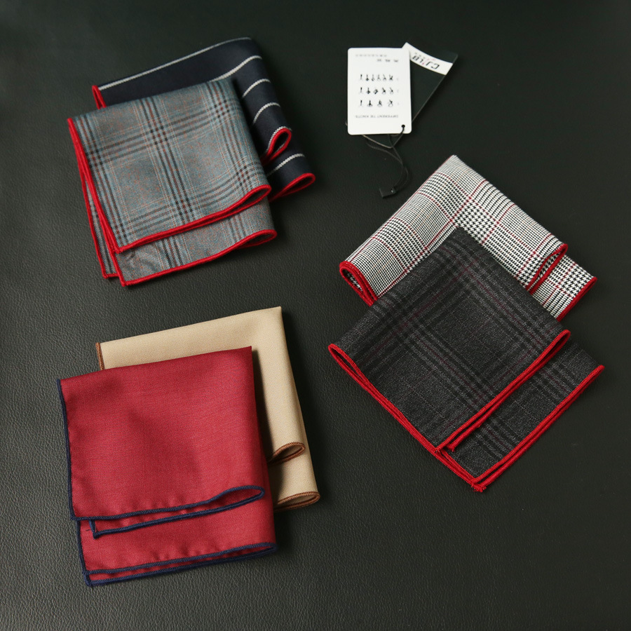 Men's  Fashion Bussiness Suit Handkerchiefs Pocket Square Print Plaid 23x23cm 10pcs/lot