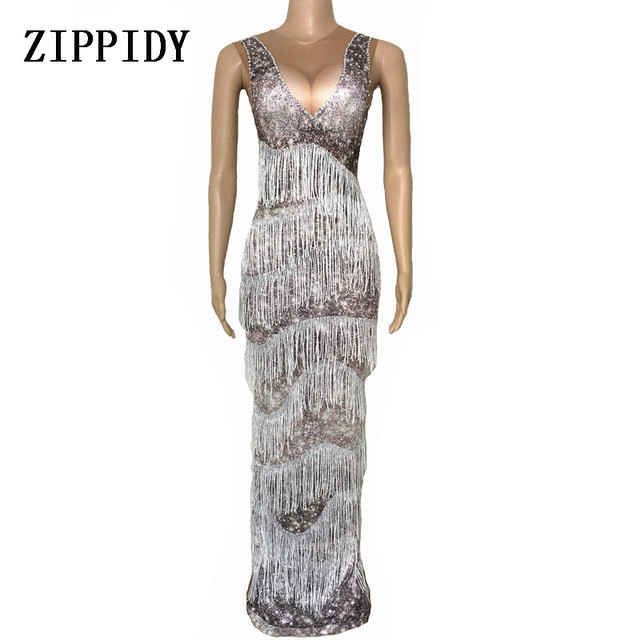 Summer Long Dress Female Party Wear Sexy Gray Tassel Costume Women's Performance Birthday Celebrate Dresses Evening Outfit