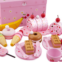 Wooden children can cut cake toys girls kitchen combination ice cream breakfast set girls toys kids kitchen