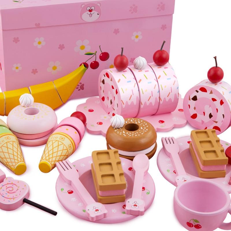 Wooden children can cut cake toys girls kitchen combination ice cream breakfast set girls toys kids kitchen