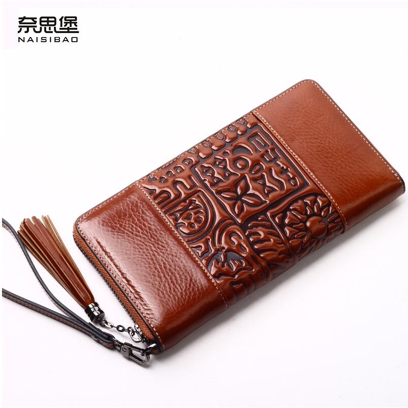 ФОТО Famous brand top quality Cow Leather women bag   Originality Chinese style long wallet embossed Vintage Clutch Wallet