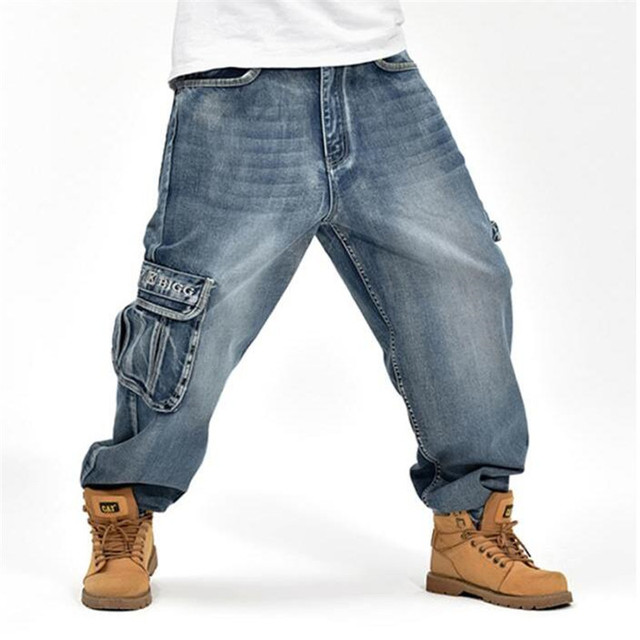 386146981d2 Jeans pants Men Hip Hop Casual Loose Denim Jeans Fashion Hip Hop Dance Baggy  Trousers Homme Harem Pants For Male A3641