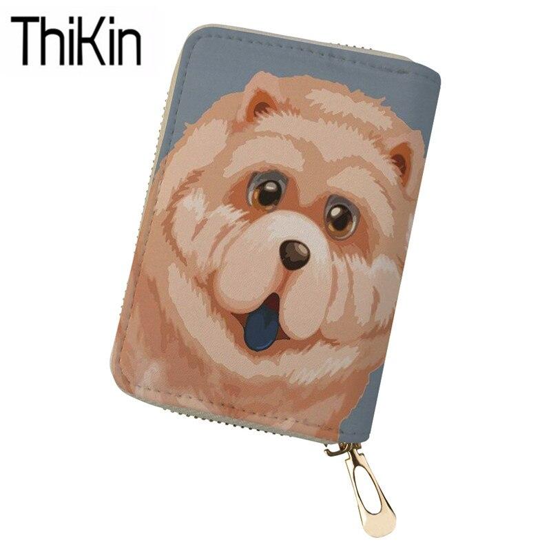 THIKIN Cute Women Chow Dog Printing Card Holder Ladies Clutch Wallets for Credit ID Card Feminine Travel Passport Case Zipper