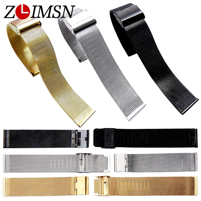 ZLIMSN Watchbands Replacement Band Strap Stainless Steel Watch Mesh Bracelet Strap Gold Silver Watchband Watches Accessories zlimsn silver mesh watchbands stainless steel watch strap men women ultrathin watch band bracelet relojes hombre 14 16 18 20mm