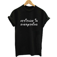 Unisex Vogue Attitude Is Everything PVC Letter Print T Shirt Women Black Color T Shirt Tee