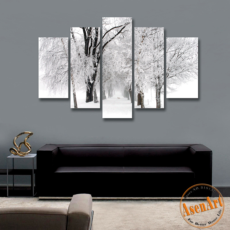 Popular winter snow paintings buy cheap winter snow for Kitchen cabinet trends 2018 combined with where to find cheap wall art