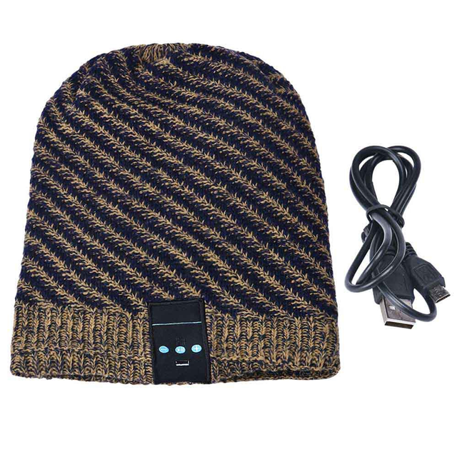 Autumn Winter Warm Wireless Bluetooth Headphone Smart Cap Knitted Wool  Beanie Hat Women Men Headset with Mic for iPhone xiaomi 2872b06c40c
