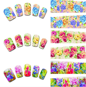 Wholesale Nail Art Flower Water Transfer Sticker Nail Wrap Foil Polish Decal Temporary Tattoo Watermark 1000pks/lot Free Shiping