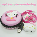 Высокое Качество Мини Hello Kitty MP3 Музыкальный Плеер Клип Mp3-плееры поддержка TF Карта С Наушником и Mini USB Мешок мальчики девочки подарок