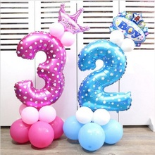 26pcs Baby Shower Foil Polka Dot Latex Balloons 32 Inch Number Inflatable Helium Balloon Kids 0-9 Birthday Party Decor Stand Set