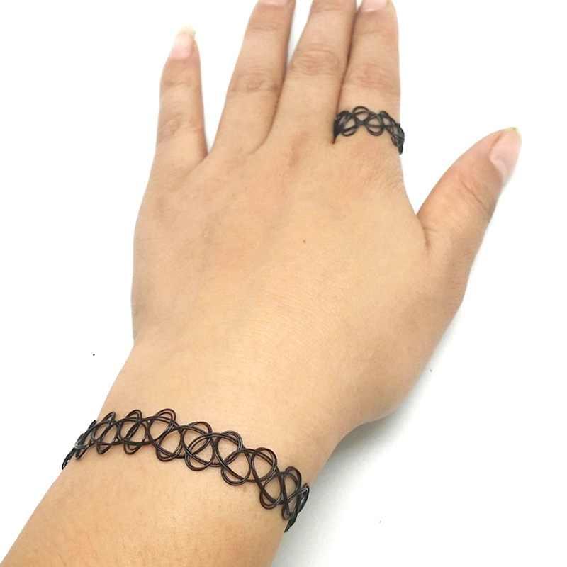 Korean Fashion Retro Tattoo Halskette Ring Armband Halskette Retro Gothic Elastischen Halskette Weiblichen Kette Set Großhandel