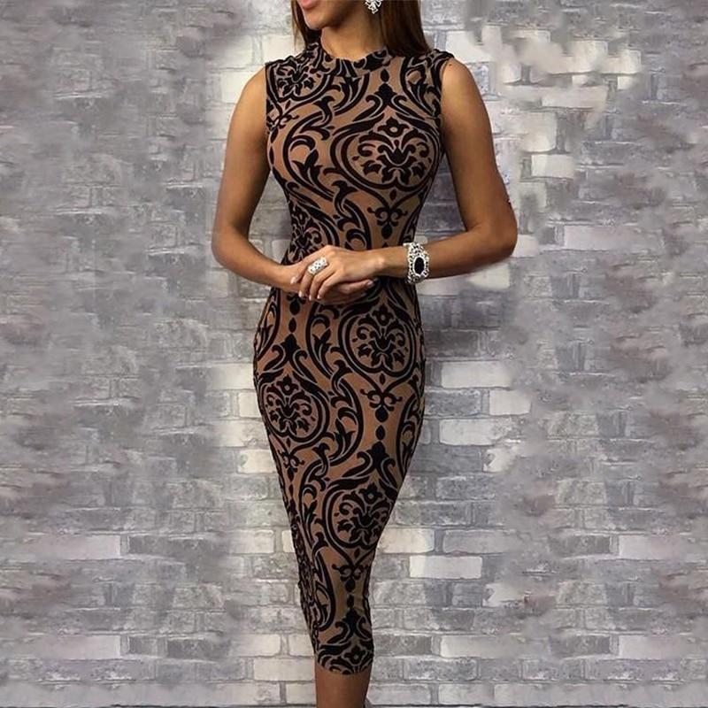 Ladies Dress Casual Sleeveless O Neck Evening Party Dress Midi Dress Women Sexy Bodycon Print Dresses 2019 Summer