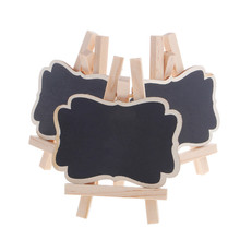 3Pcs/set Mini Vintage Wooden Blackboard Chalkboard Stand for Wedding Party Table Tags For Party Wedding Christmas Decoration vodool fine mini wooden chalkboard stand message boards clips blackboard for wedding party coffee bar