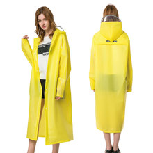 Multifunctional biodegradable waterproof packable transparent long thick plastic raincoat hooded reusable with reflective tape