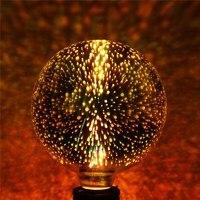 4W E27 G125 LED Light 3D Fireworks Retro Edison Bulb Home Bar Decor Lighting Colorful Glass