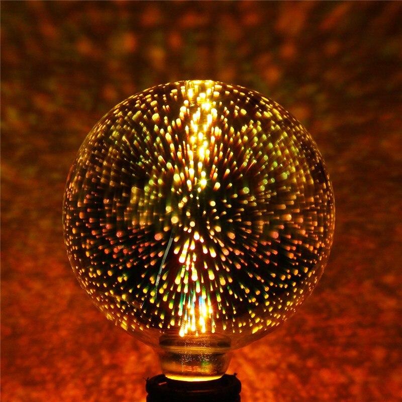 4W E27 G125 LED Light 3D Fireworks Retro Edison Bulb Home Bar Decor Lighting Colorful Glass Lamp 420Lm AC85-265V