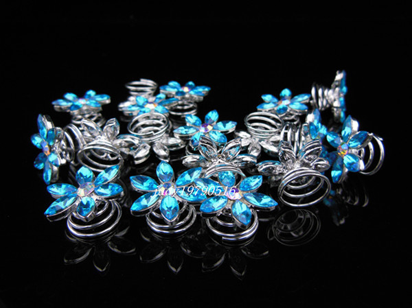 2015 New Spiral hairpin Girl Headwear Female Blue Crystal Snowflake Hair Accessory Wafer Clip Hairpin Hair Jewelry