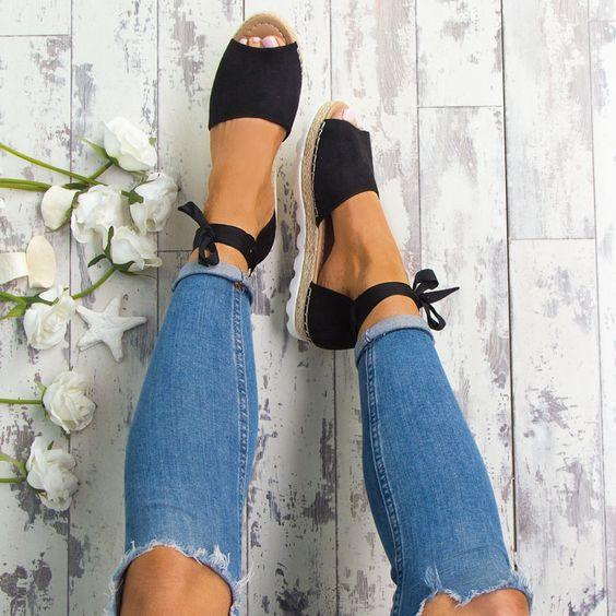 XingDeng Women Flat Summer Fisherman Bandage Hemp Sandals Ladies Gladiator Lace Up Party Sandal Shoes Plus Size 35-44