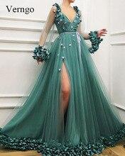 Verngo Tulle Green Evening Dress long 2019 Deep-v-neck Formal A Line abendkleider Side Split vestido de festa longo