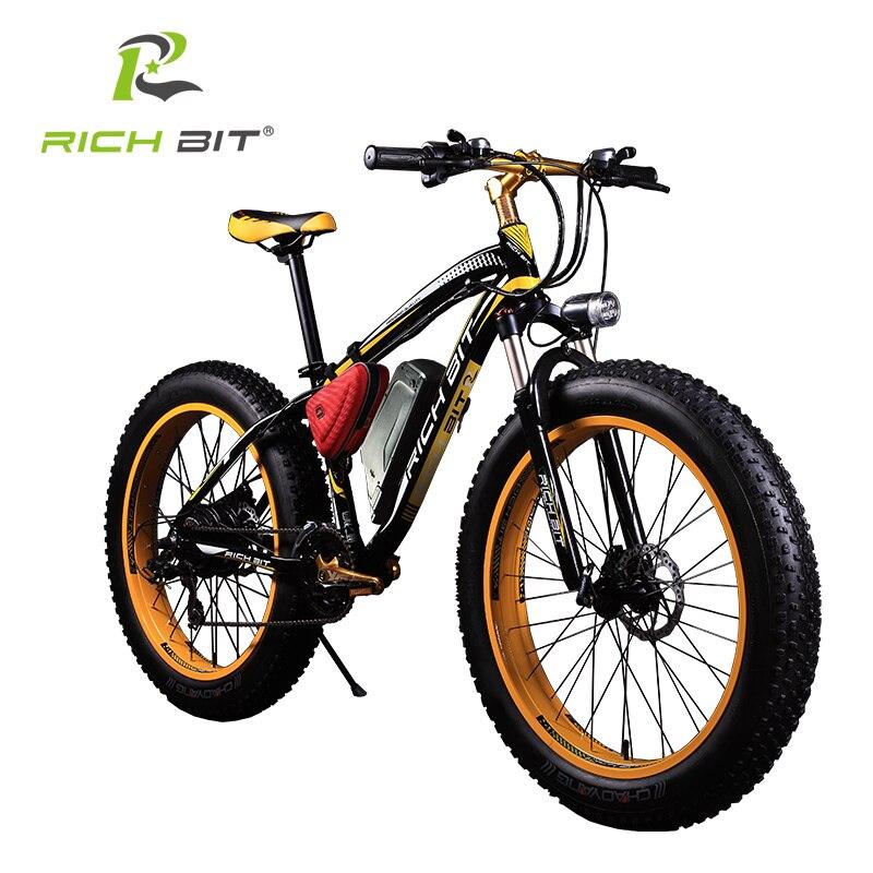 Цена за RichBit Мощный Жира Шин Электрический Горный Велосипед Супер Мощный 48 В 17AH 1000 Вт eBike Beach Cruiser 7 Скорости Электрический снег Велосипедов