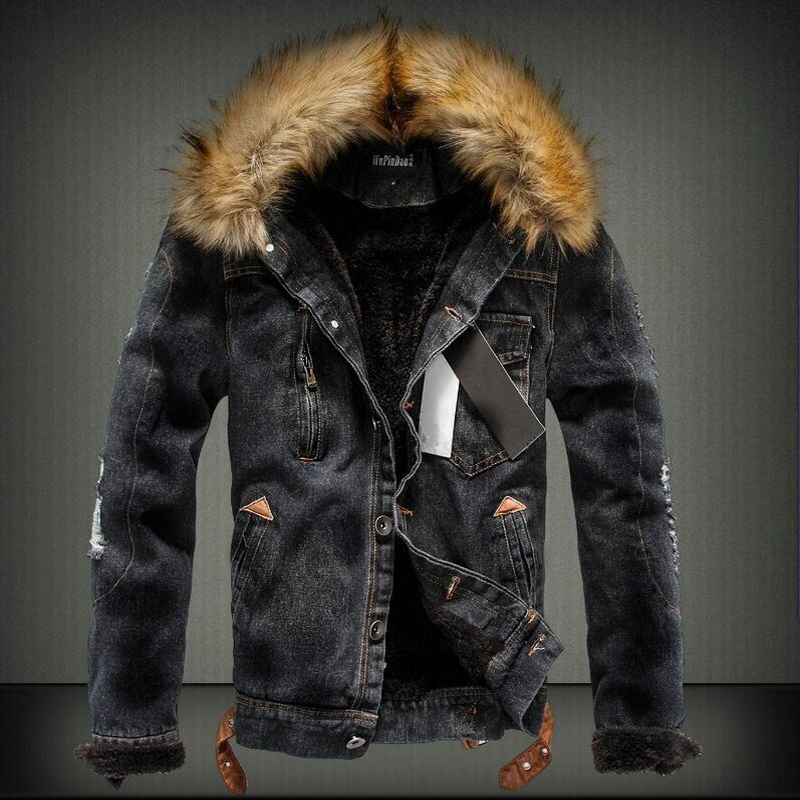 2019 Fashion Streetwear Winter Jacket For Men Black Blue Punk Style Velvet Parka Denim Warm Jacket Men Fur Collar Hooded Coats