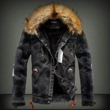 2019 Fashion Streetwear Winter Jacket For Men Black Blue Punk Style Velvet Parka Denim Warm Jacket Men Fur Collar Hooded Coats недорого