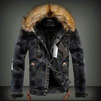 2019 Fashion Streetwear Winter Jacket For Men Black Blue Punk Style Velvet Parka Denim Warm Jacket Men Fur Collar Hooded Coats