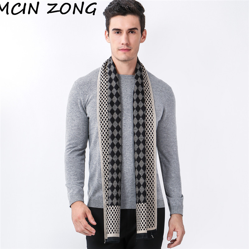 Shawl Thick Scarves-Wrap Brushed-Scarf Cashmere Wool Plaid Warm Winter Cotton Knit Autumn