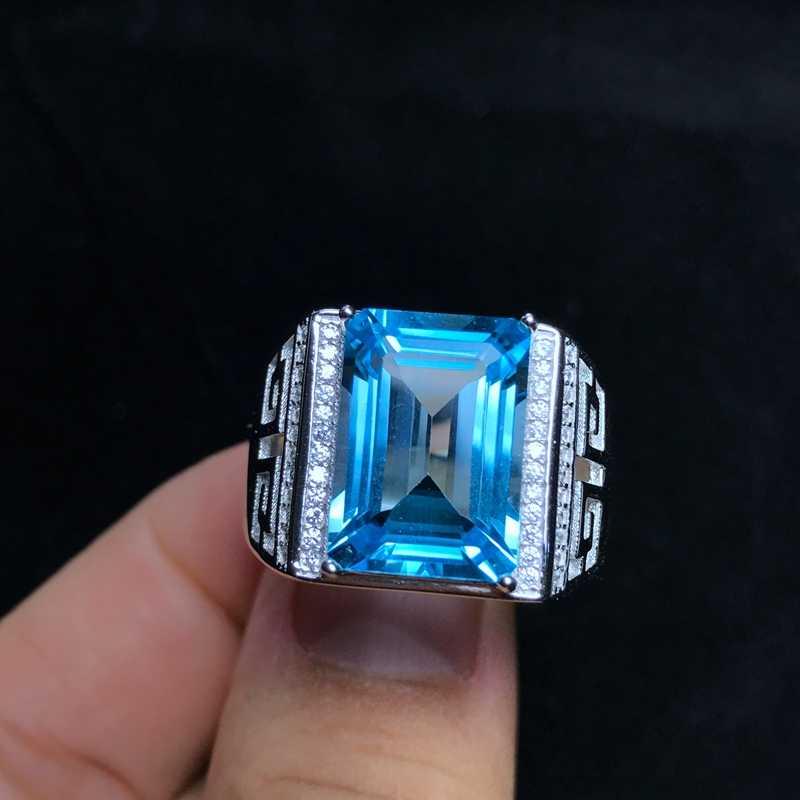ธรรมชาติ topaz แหวนผู้ชาย, เงิน 925, ประณีตฝีมือ, 8 กะรัตอัญมณีสีสวย