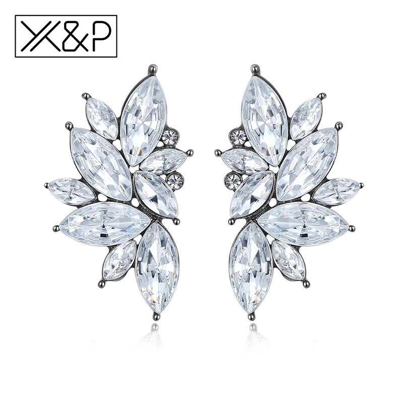 X&P Fashion Luxury Elegant Brand Crystal Stud Earrings for Women Girl Christmas Party Opal Stone Gold Earring Jewelry Gift
